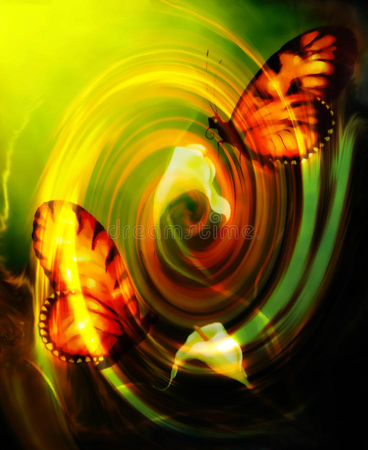 Бабочка летания на декоративной предпосылке с цветком cala и влиянием свирли стоковые изображения rf