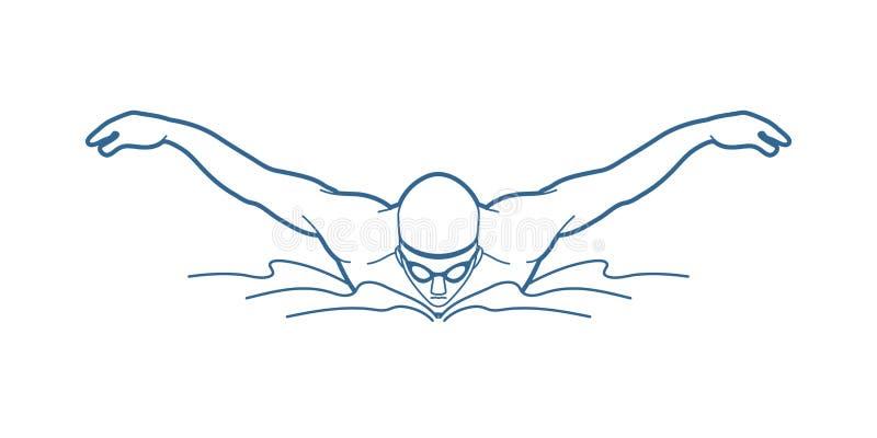 Бабочка заплывания, заплывание человека иллюстрация вектора
