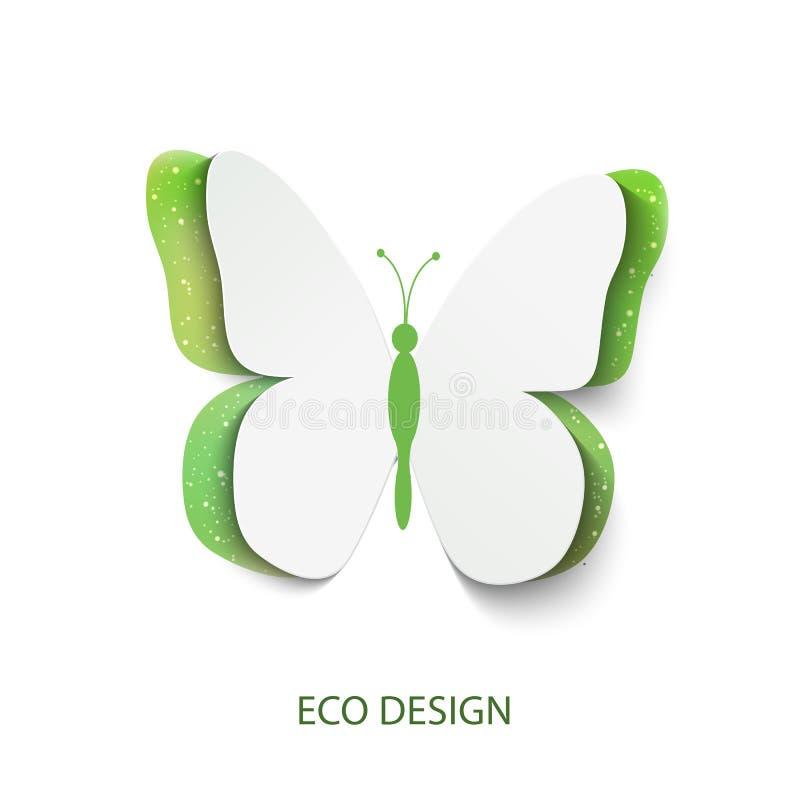 Бабочка зеленого цвета концепции Eco отрезала из бумаги, абстрактной предпосылки вектора бесплатная иллюстрация