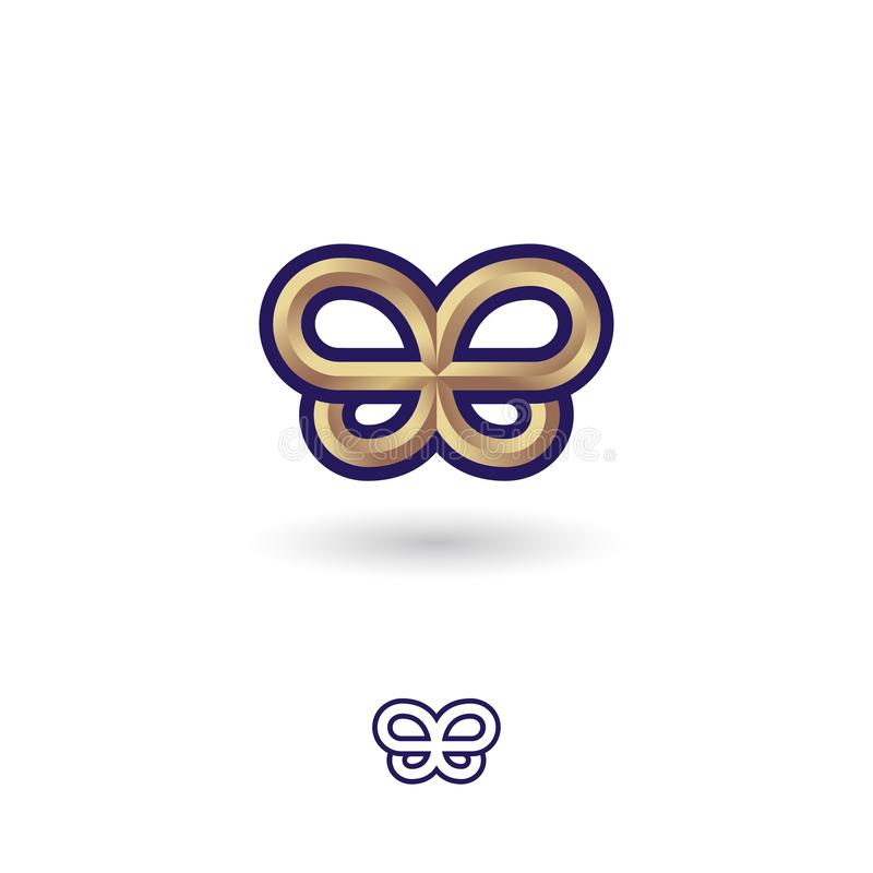 Бабочка золота металлическая Символ золота на белой предпосылке Двойной b любит бабочка иллюстрация штока