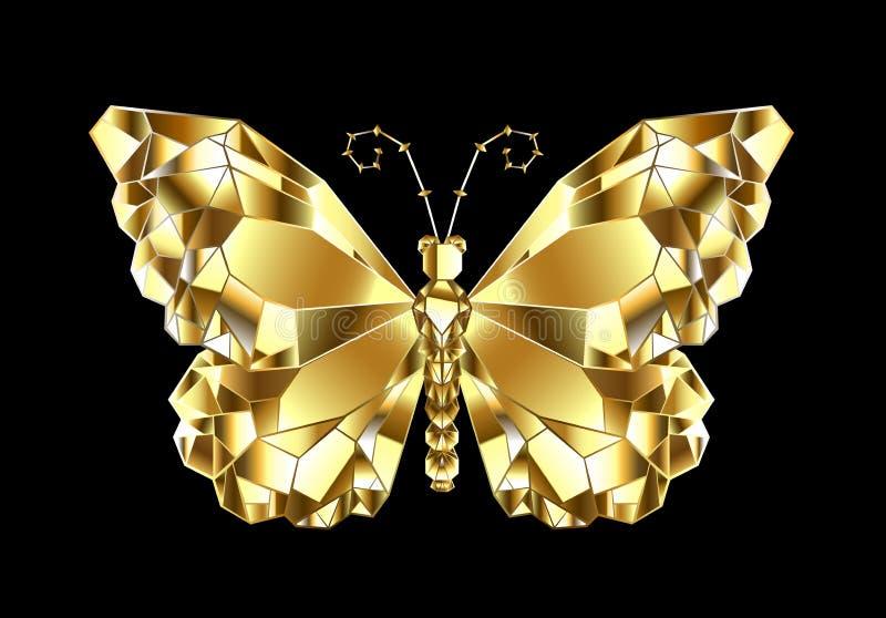 Бабочка золота полигональная на черной предпосылке иллюстрация штока