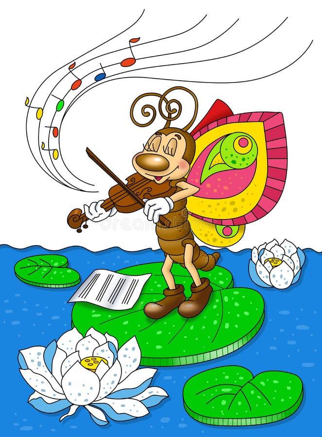Бабочка играет скрипку стоковое изображение