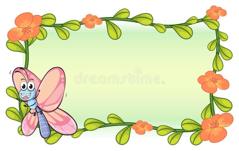 Бабочка и рамка завода цветка бесплатная иллюстрация