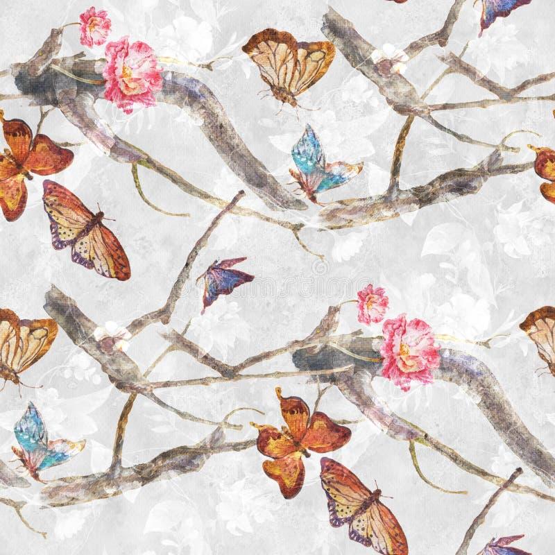 Бабочка картины акварели и цветки, безшовная картина на белой предпосылке бесплатная иллюстрация
