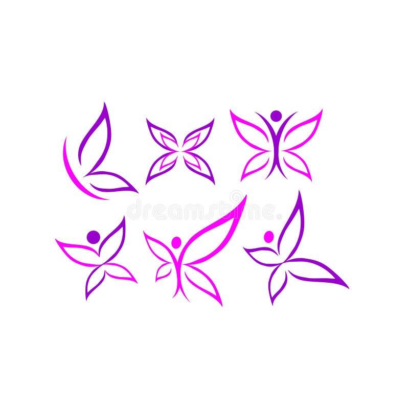 Бабочка, логотип, красота, курорт, образ жизни, забота, ослабляет, йога, конспект, крыла, комплект вектора дизайна значка символа иллюстрация штока