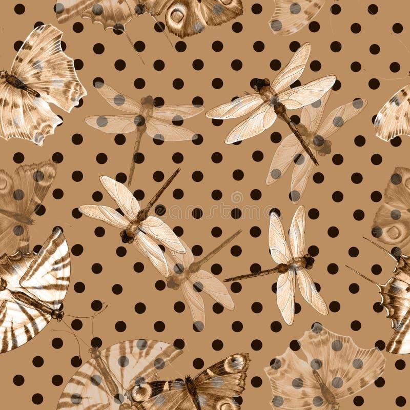 Бабочка на бежевой предпосылке с коричневым горох-углем E иллюстрация штока