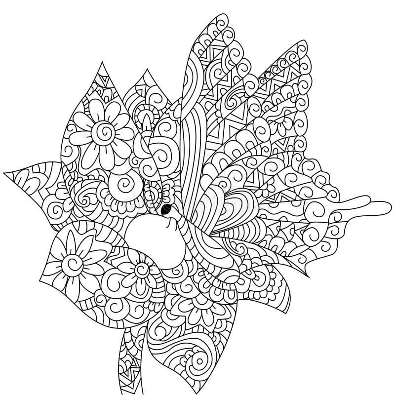 Бабочка на векторе книжка-раскраски цветка для взрослых иллюстрация вектора