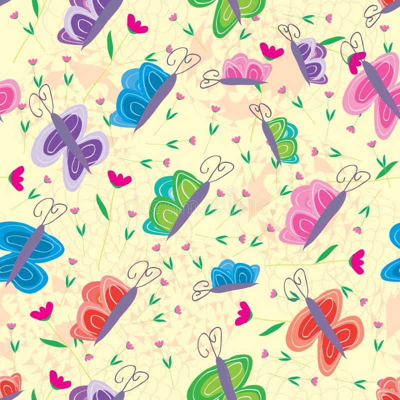 Бабочка над картиной розового цветка безшовной иллюстрация штока