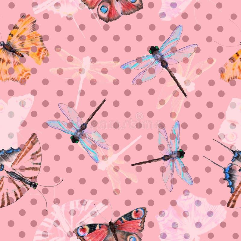 Бабочка на розовой предпосылке с бургундским горох-углем E иллюстрация штока