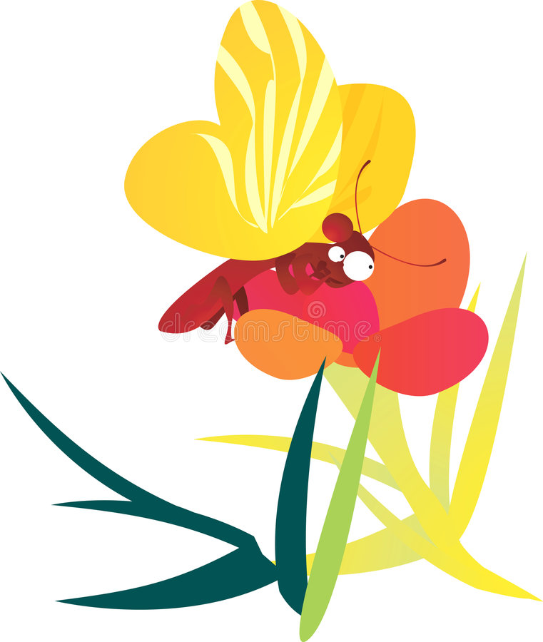 Бабочка на цветке иллюстрация штока