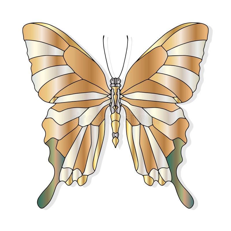 Бабочка руки вычерченная для дизайна или татуировки футболки Книжка-раскраска для детей и взрослых иллюстрация вектора