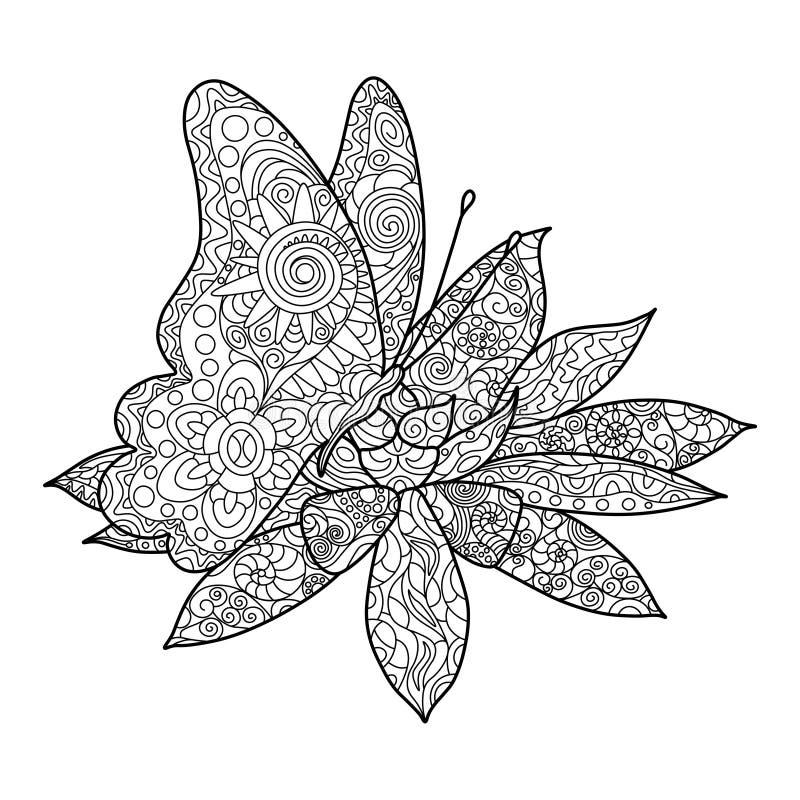 Бабочка с вектором взрослых книжка-раскраски цветка иллюстрация вектора