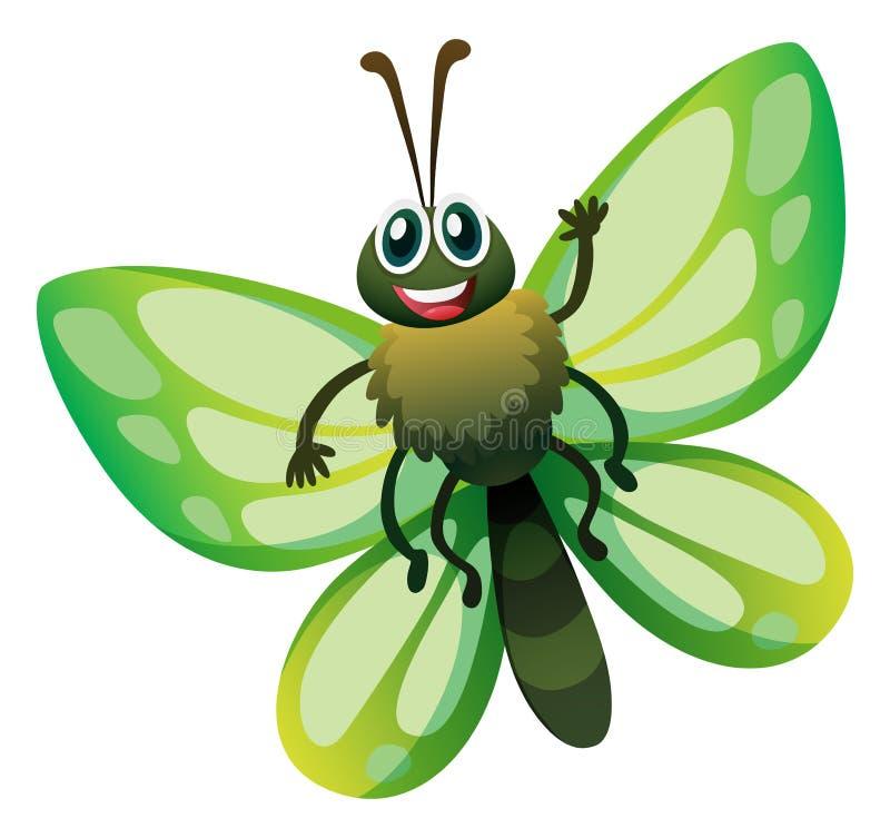 Бабочка с зелеными крылами иллюстрация штока