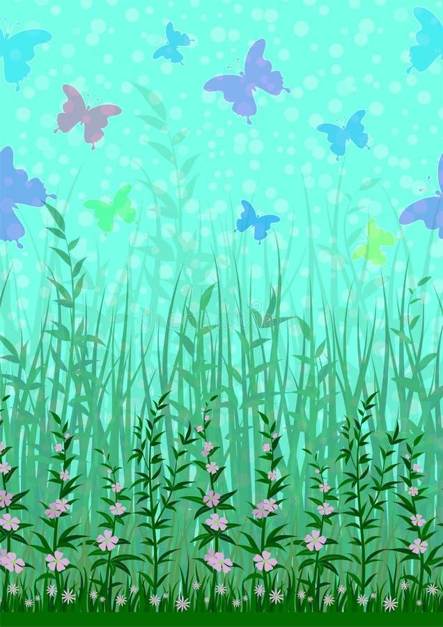 Бабочка, трава и цветки бесплатная иллюстрация