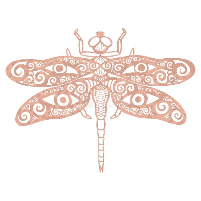 Бабочка фантазии металлической текстуры сусального золота татуировки розовой богато украшенная с животным тотема antlers и глаз д иллюстрация штока
