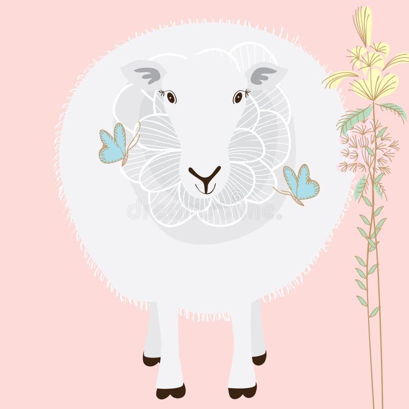 Бабочка цветка овец любит иллюстрация вектора