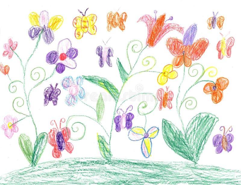 Бабочка чертежа ребенка и природа цветков иллюстрация штока