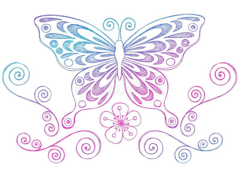 бабочка doodles свирли тетради схематичные иллюстрация штока