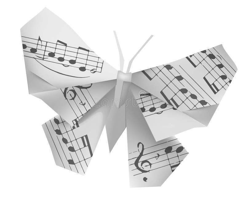 Бабочка Origami с музыкальными примечаниями иллюстрация вектора