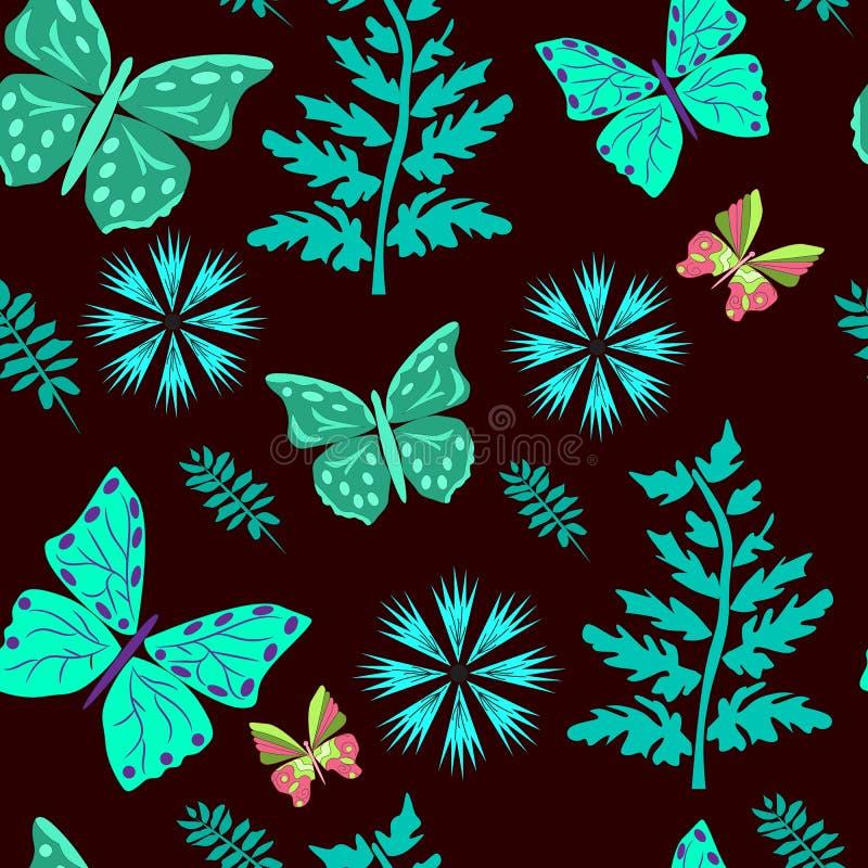 Бабочки безшовной картины лазурные, листья, цвета на коричневом цвете иллюстрация штока