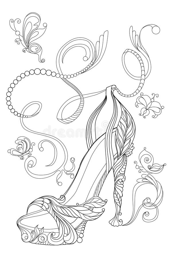 Бабочки ведьмы ботинка Книжка-раскраски для взрослых Стандартное изображение для футболки или татуировки иллюстрация вектора