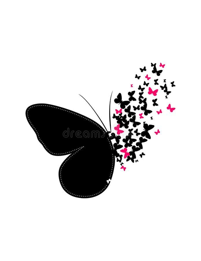 Бабочки делают большое изображение совместно иллюстрация вектора