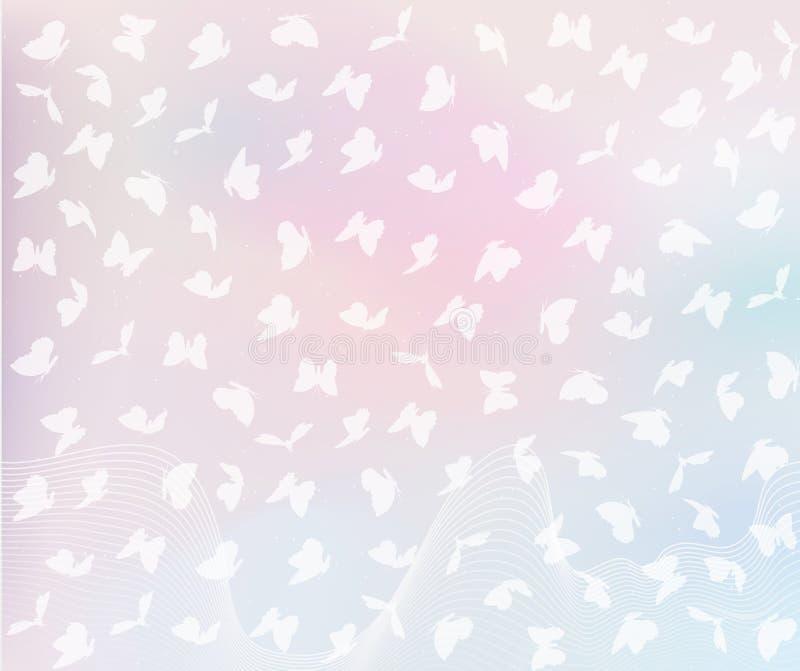 Бабочки летания в пастельных цветах бесплатная иллюстрация