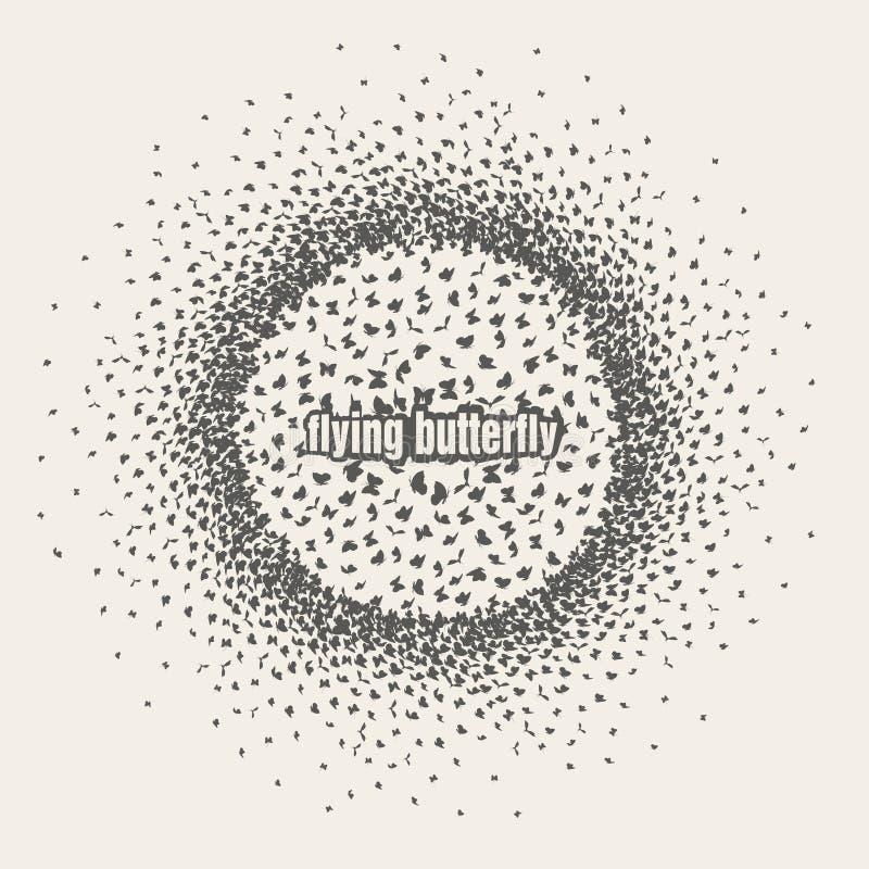 Бабочки летая в scatter круга внутри иллюстрация вектора