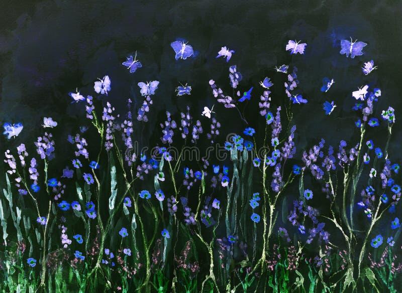 Бабочки летая в поле лаванды вечером иллюстрация вектора