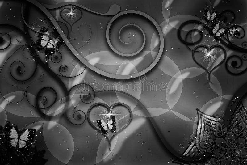 Бабочки летая, лозы проползать, мерцая сердца, плавая пузыри, цветки & листья выдуманного мира в черном & белом иллюстрация вектора
