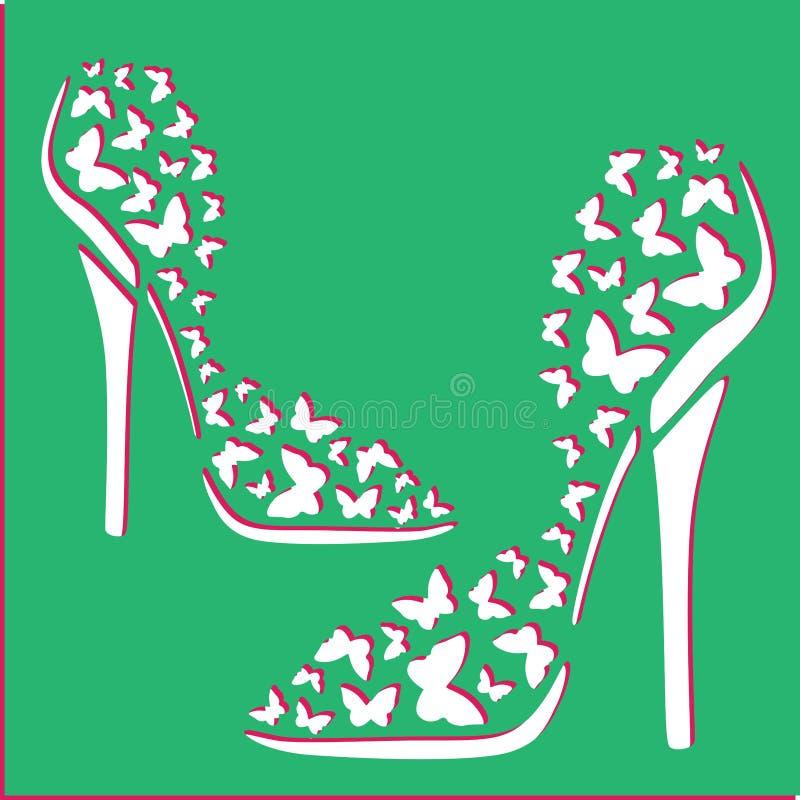 Бабочки острословия ботинок женщин иллюстрация штока