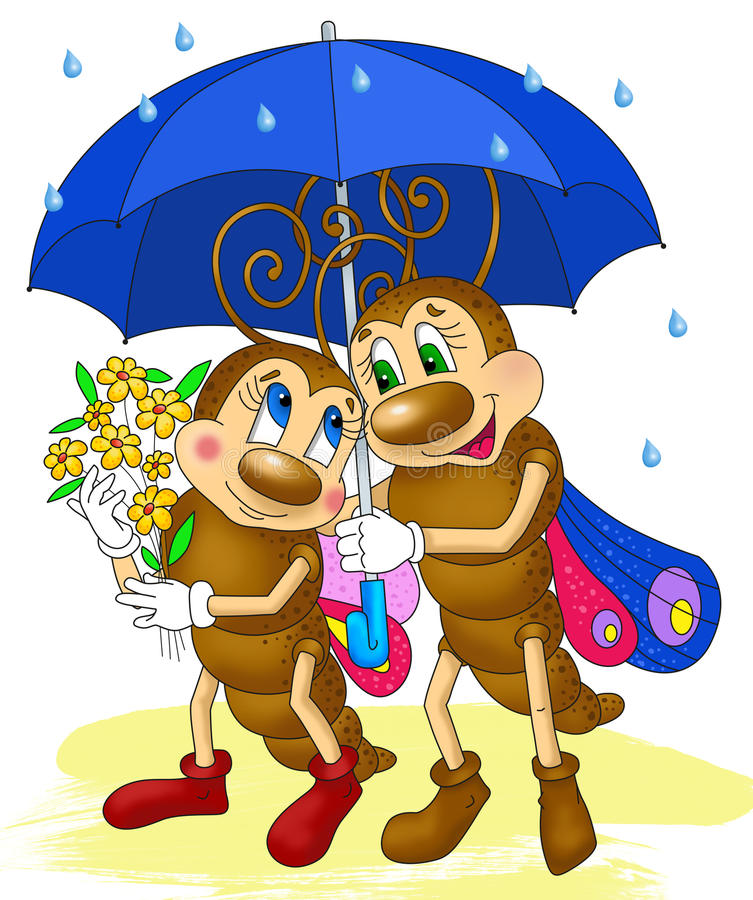 2 бабочки под зонтиком, шарж насекомых стоковые изображения rf
