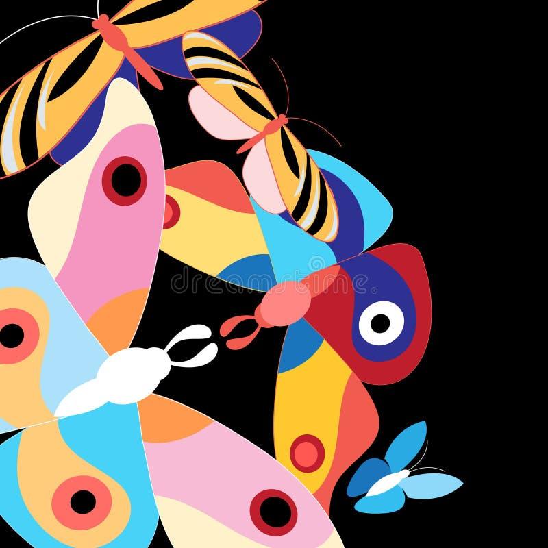 Бабочки предпосылки пестротканые иллюстрация вектора