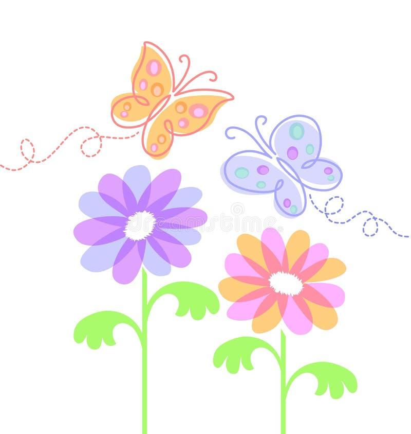 бабочки eps цветут весна бесплатная иллюстрация