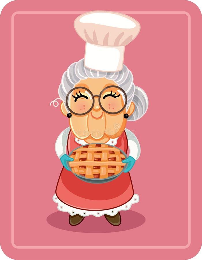 Бабушка держа домодельную иллюстрацию вектора пирога иллюстрация штока
