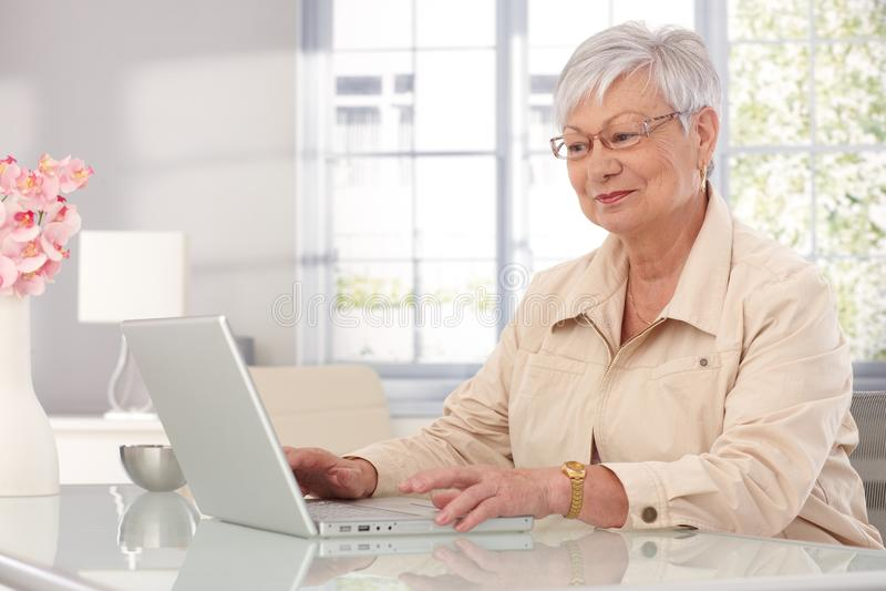 Бабушка используя компьтер-книжку дома стоковое фото