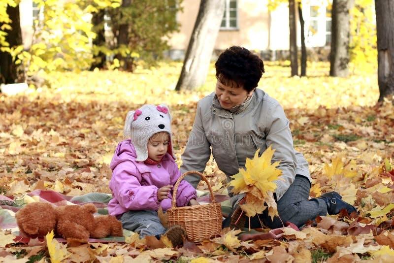 Бабушка и внучка в парке осени стоковые фотографии rf