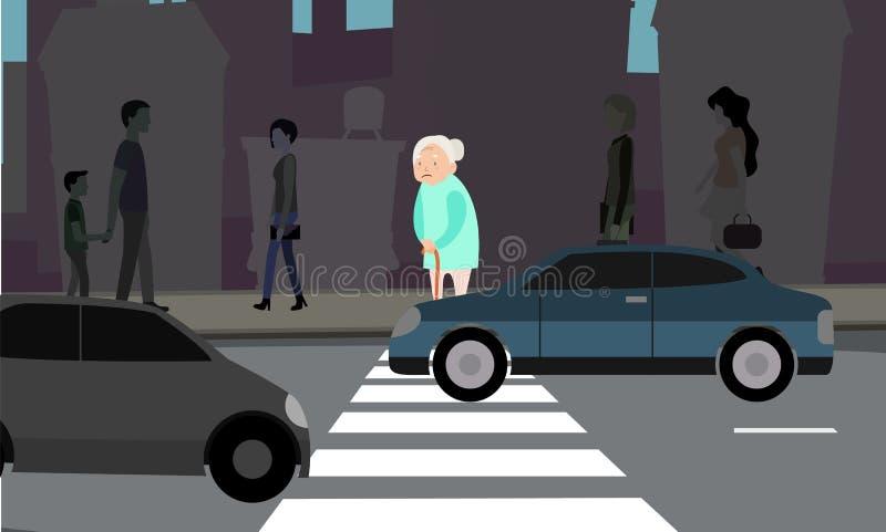 Бабушка может ` t через дорогу иллюстрация вектора