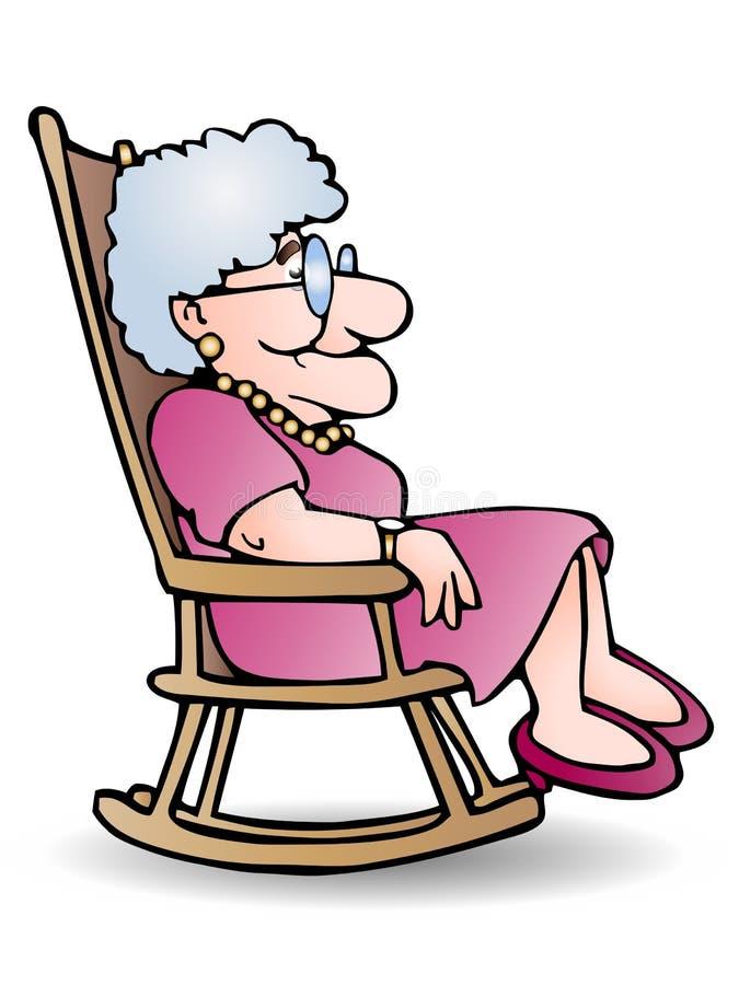 бабушка стула неустойчивая сидит иллюстрация вектора