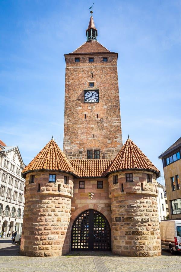 Бавария Германия Нюрнберг башни часов стоковые фотографии rf