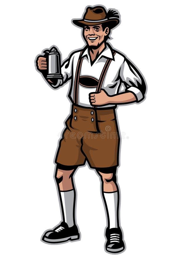 Баварский человек и нося ледерхозены и кружка пива владением иллюстрация штока