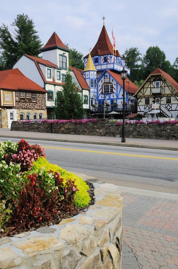 баварское цветастое село домов стоковая фотография