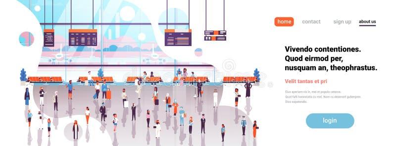 Багажа пассажиров авиапорта отклонение залы внутреннего идя ждать всходит на борт знамени космоса экземпляра салона терминального иллюстрация вектора