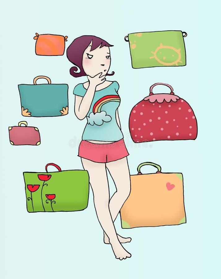 багаж девушок сомнения иллюстрация вектора