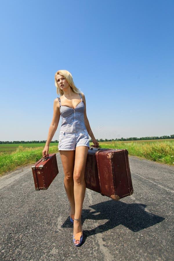 багаж ее womanl стоковое фото rf