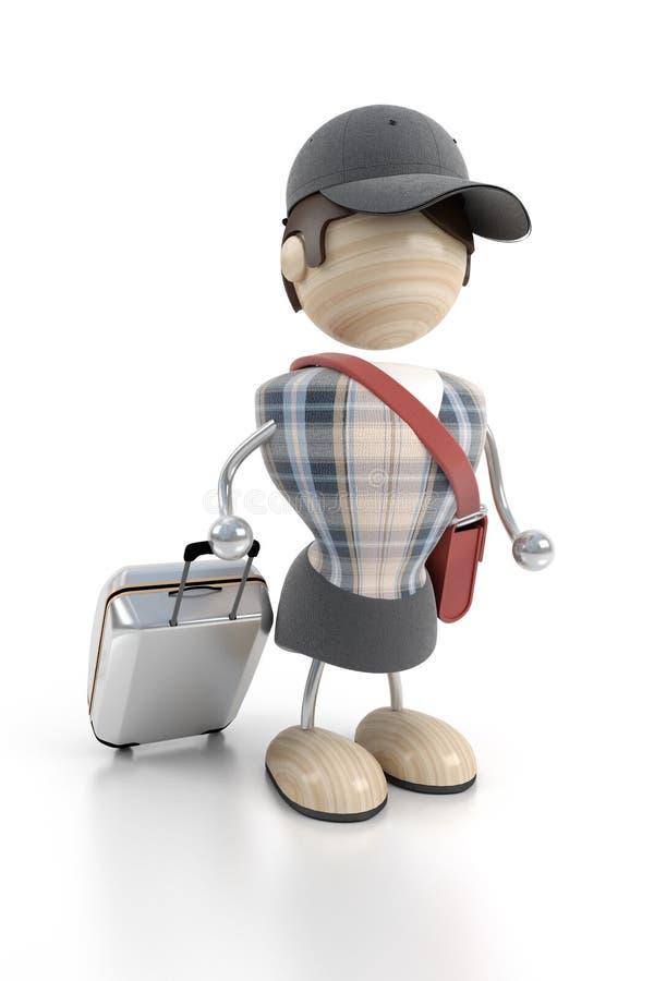 багаж стоит туристское whith бесплатная иллюстрация