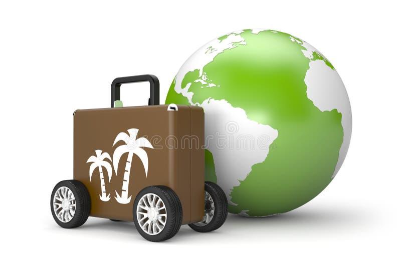 Багаж с большими колесами иллюстрация штока