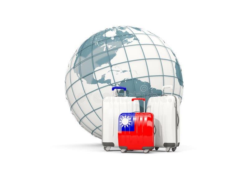 Багаж с флагом Тайваня 3 сумки перед глобусом иллюстрация штока