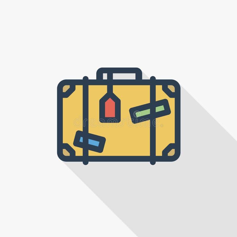 Багаж, чемодан, стикеры whith сумки перемещения утончает линию плоский значок цвета Линейный символ вектора Красочная длинная тен бесплатная иллюстрация