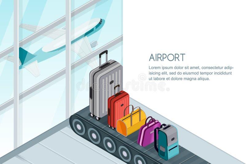 Багаж, чемодан, сумки на конвейерной ленте в крупном аэропорте Иллюстрация вектора 3d равновеликая Знамя багажа перемещения бесплатная иллюстрация